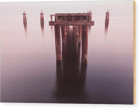 Dock At Twilight Wood Print