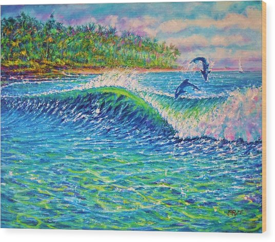 Dolphin Play Wood Print