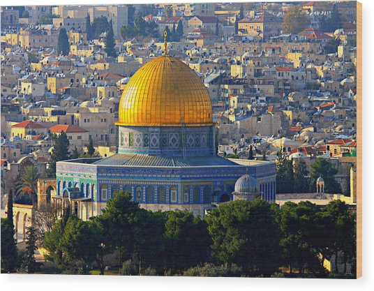 Dome Of The Rock Wood Print