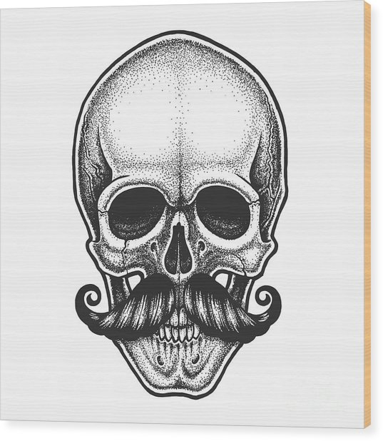 Dotwork Styled Skull With Moustache Wood Print by Mr bachinsky
