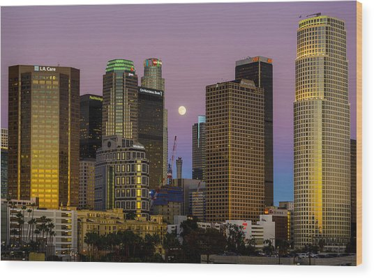 Downtown Los Angeles Moonrise Wood Print