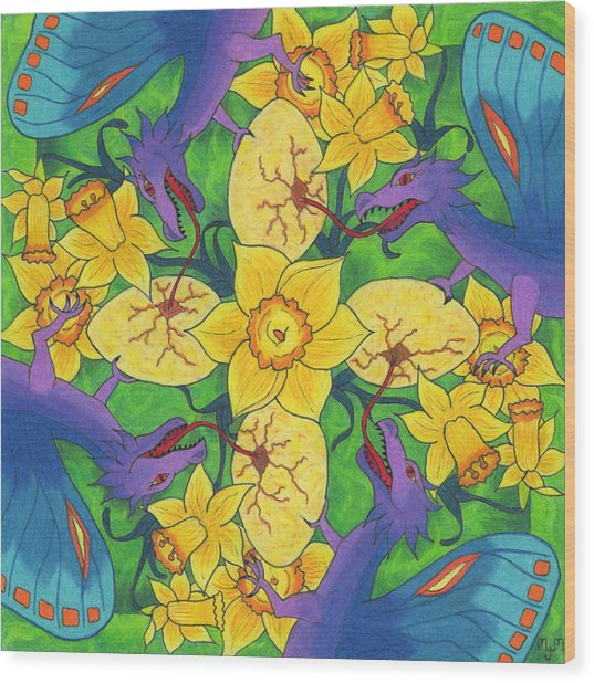 Wood Print featuring the drawing Dragondala Spring by Mary J Winters-Meyer