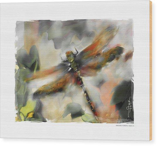 Dragonfly Garden Wood Print