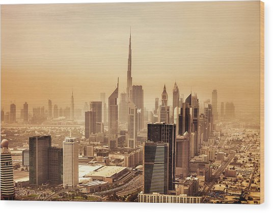Dubai Downtown Skyscrapers And Office Wood Print by Leopatrizi