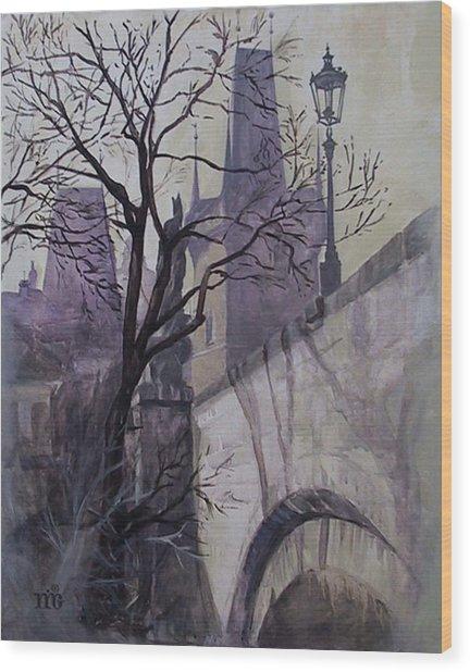 Dusk At The Charles Bridge Wood Print