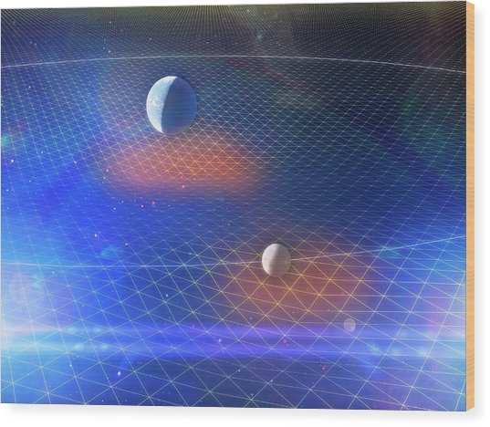Earth And Moon And Space-time Wood Print