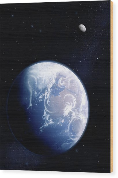 Earth And Moon Wood Print by Mark Garlick/science Photo Library