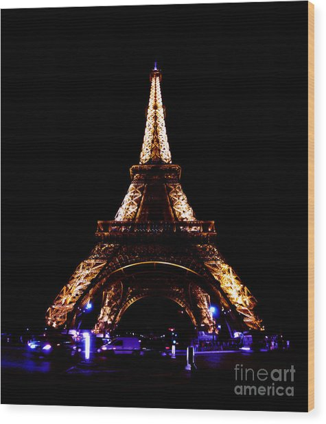 Eiffel Tower At Night Wood Print by Sandy MacNeil