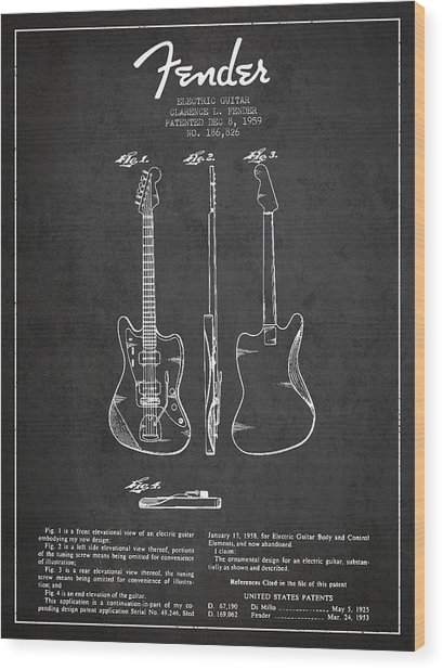 Electric Guitar Patent Drawing From 1959 Wood Print
