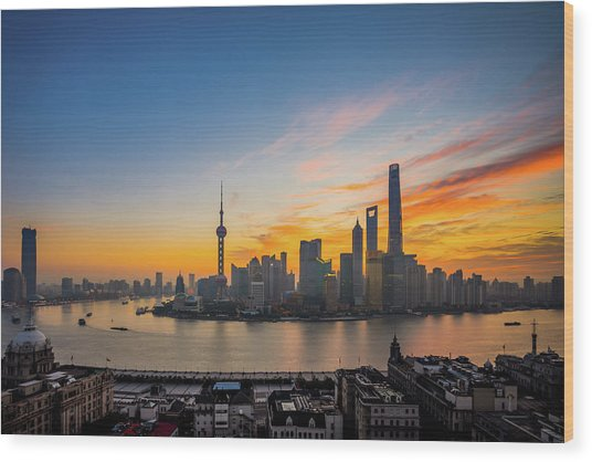 Elevated View Of Shanghai Skyline At Wood Print by Yongyuan Dai