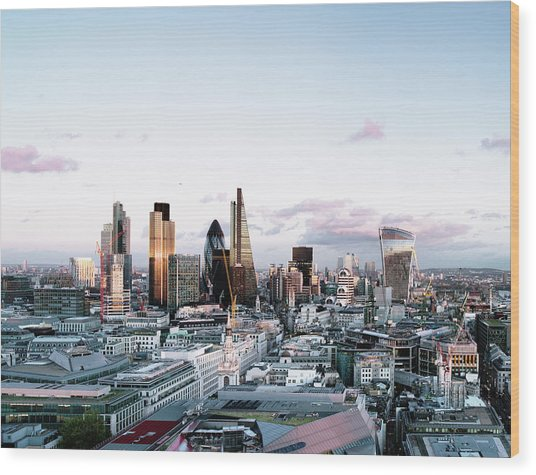 Elevated View Over London City Skyline Wood Print by Gary Yeowell