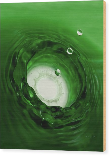 Emerald Drops 8x10 Wood Print