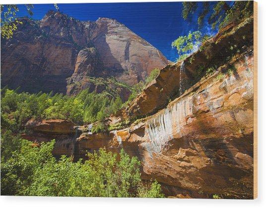 Emerald Pools Falls Zion Park Wood Print
