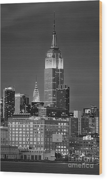 Empire And Chrysler Buildings Wood Print
