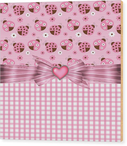 Enchanted Pink Ladybugs Wood Print