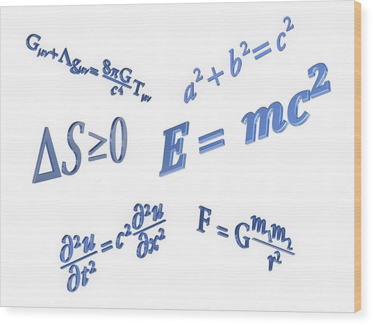 Equations Wood Print by Alfred Pasieka