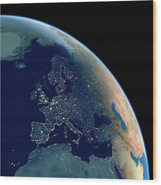 Europe At Night Wood Print by Planetary Visions Ltd/science Photo Library