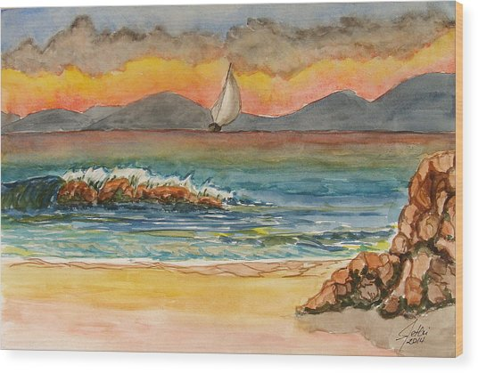 Evening In Beach Wood Print by Fethi Canbaz