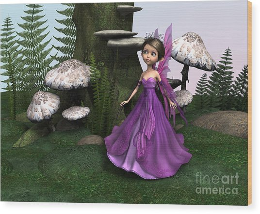 Fairy In Woodland Wood Print by Design Windmill