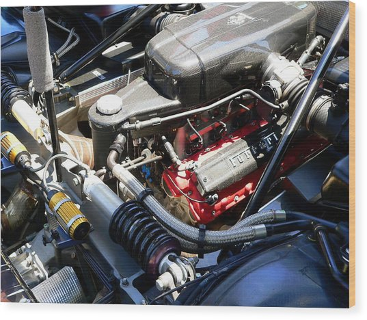 Wood Print featuring the photograph Ferrari Engine by Jeff Lowe