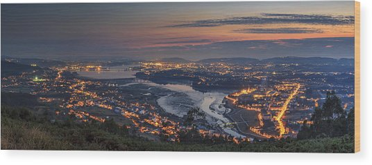 Ferrol's Ria Panorama From Mount Ancos Galicia Spain Wood Print