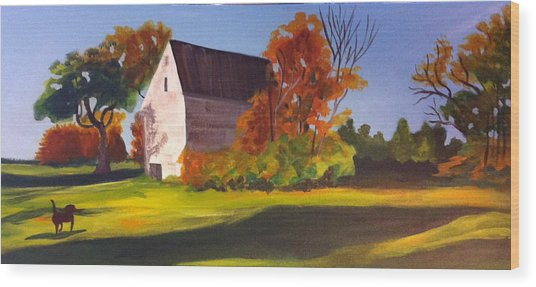 Wood Print featuring the painting Fetch by Jane Croteau