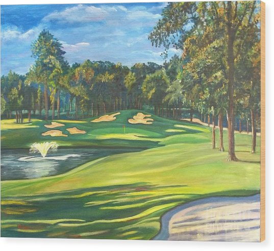 Final Hole At Walden On Lake Conroe Wood Print by Frank Giordano