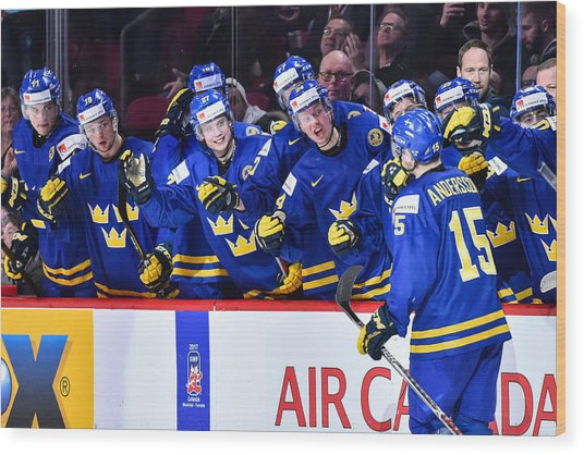 Finland V Sweden - 2017 IIhf World Junior Championship Wood Print by Minas Panagiotakis
