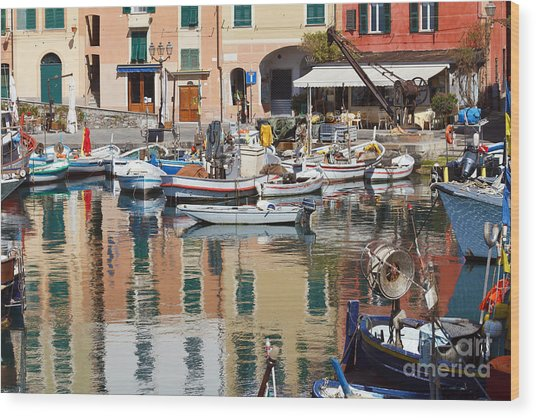 fishing boats in Camogli  Wood Print
