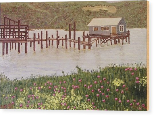 Fishing Shack Wood Print