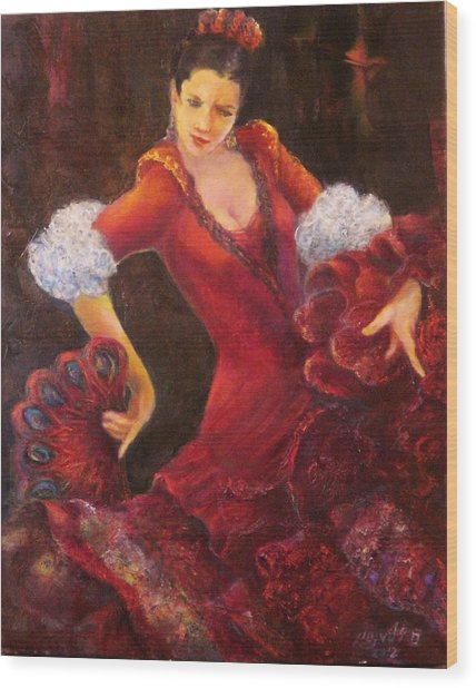 Flamenco Dancer With A Fan Wood Print