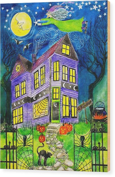Flight Of The Moon Witch On Hallows Eve Wood Print