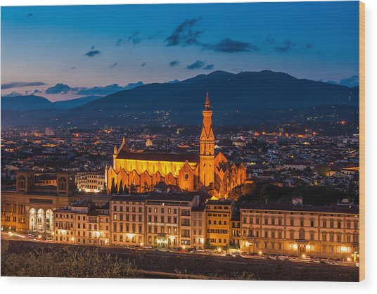 Florence City At Night Wood Print