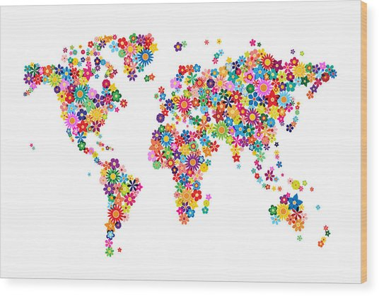 Flowers Map Of The World Map Wood Print by Michael Tompsett