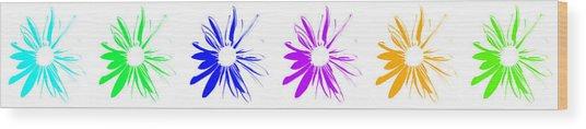 Flowers On White Wood Print
