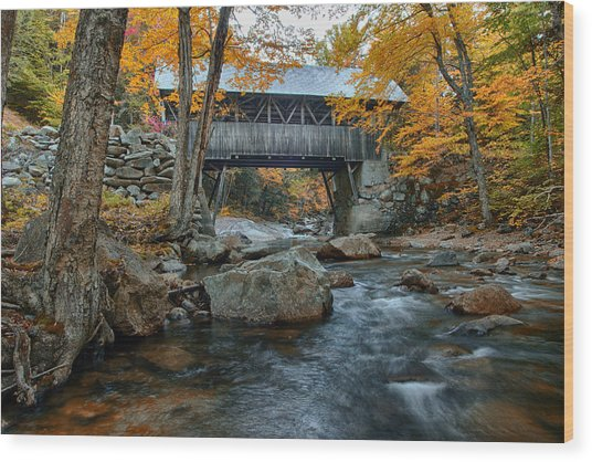 Flume Gorge Covered Bridge Wood Print