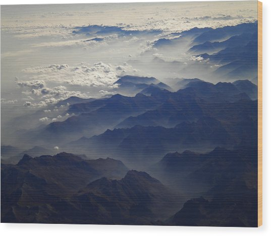Flying Over The Alps In Europe Wood Print