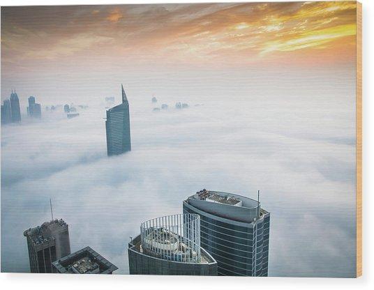 Fog In Dubai Wood Print by Umar Shariff Photography
