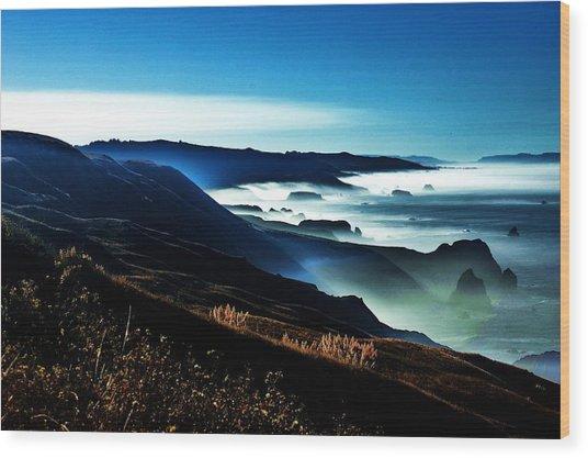 Fog Rising Wood Print by Helen Carson