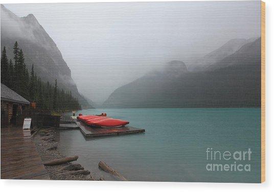 Foggy Lake Louise In Banff Alberta Wood Print