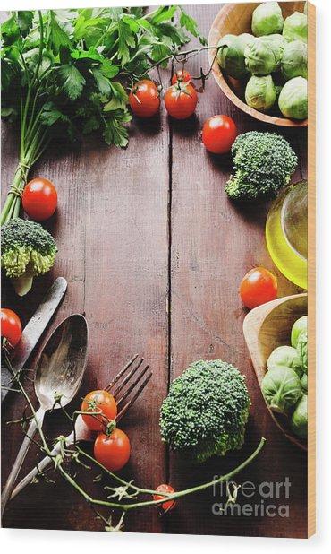 Food Ingredients Wood Print