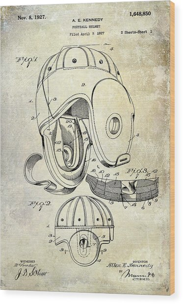 1927 Football Helmet Patent Wood Print