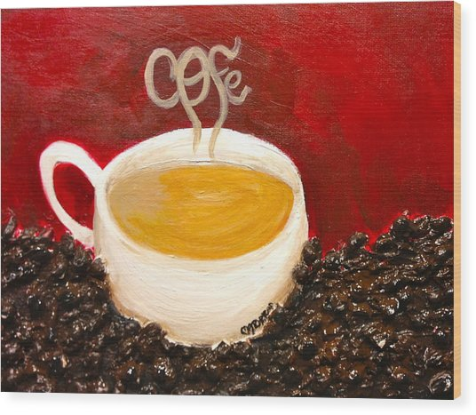 For The Coffee Lover Wood Print by Melissa Torres