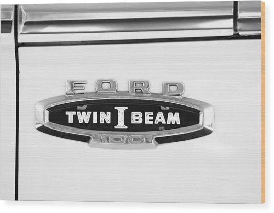 Ford 100 Twin I Beam Truck Emblem Wood Print