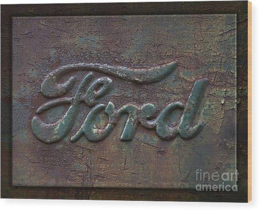 Detail Old Rusty Ford Pickup Truck Emblem Wood Print