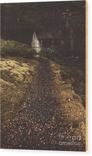 Forest Log Cabin Or Cottage With Leafy Autumn Path Wood Print