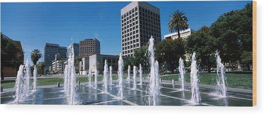 Fountain In A Park, Plaza De Cesar Wood Print