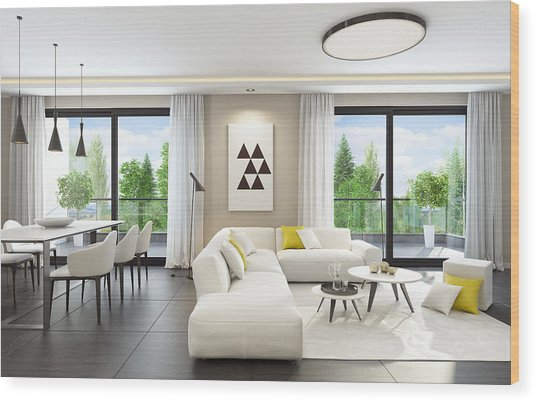 Fresh And Modern White Style Living Room Interior Wood Print by Tulcarion