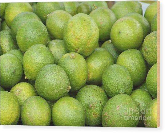 Fresh Green Lemons Wood Print