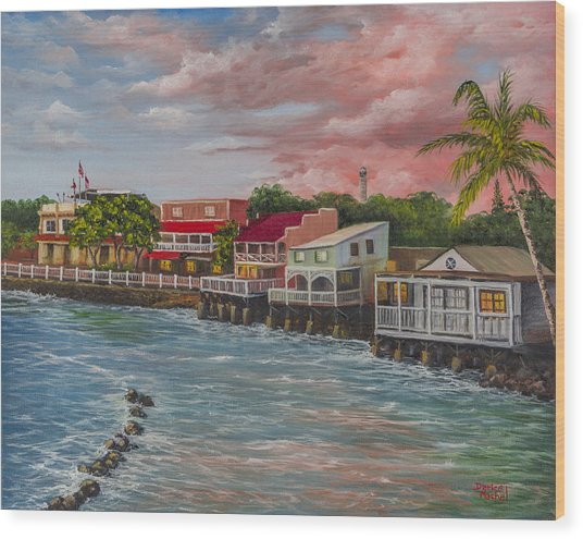 Front Street Lahaina At Sunset Wood Print